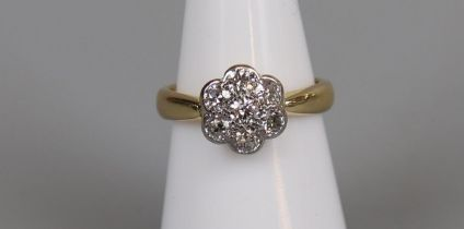 18ct gold diamond daisy cluster ring, size L½