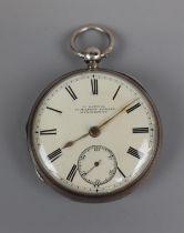 Hallmarked silver pocket watch marked H Samuel