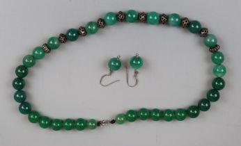 Jade necklace with matching earrings