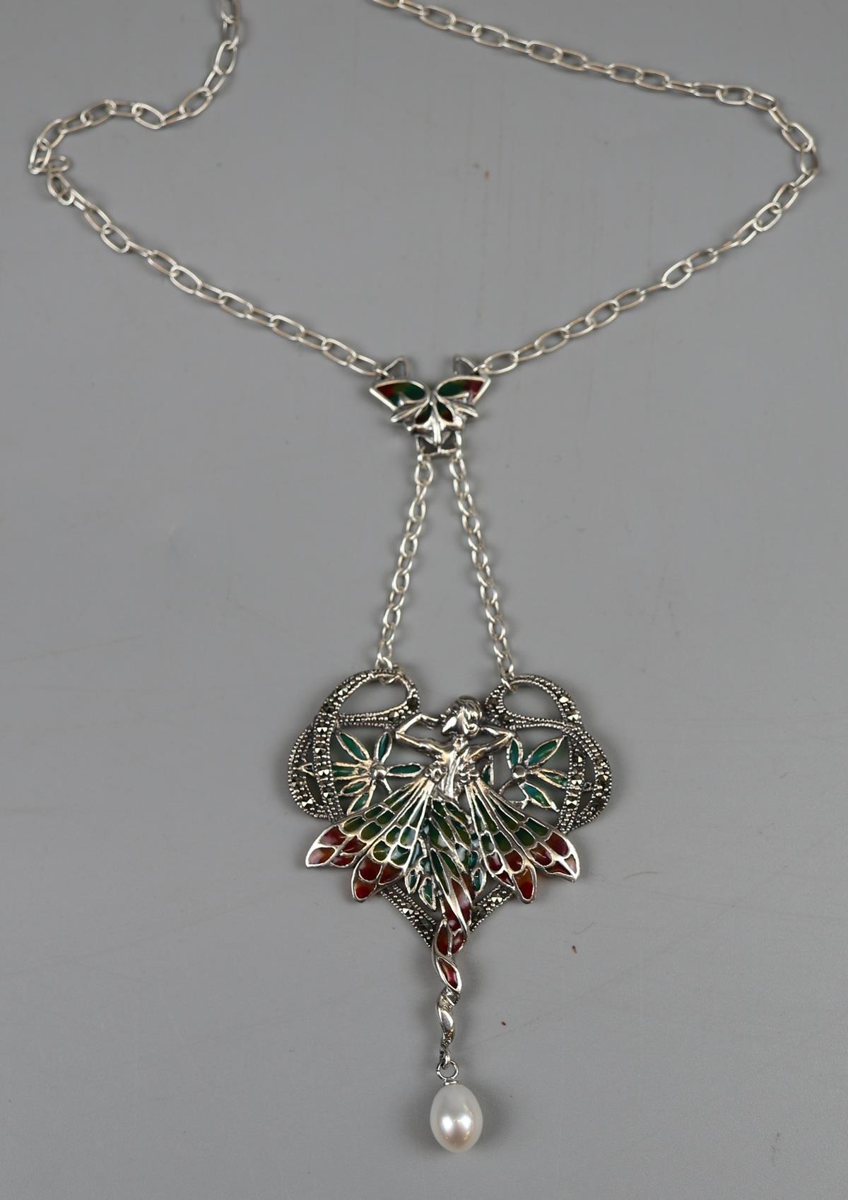 Silver & enamel plique-de-jour pendant on chain
