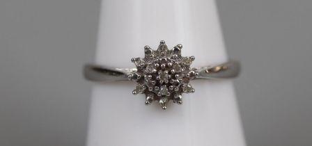 White gold diamond cluster ring - Size M½