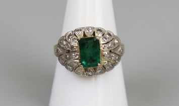 18ct gold emerald & diamond cocktail ring, size P½