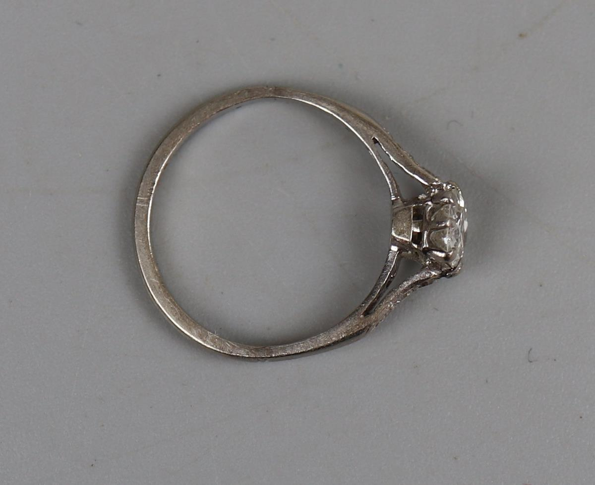 Platinum diamond solitaire ring - Approx ¾ct diamond - Size L - Image 3 of 3