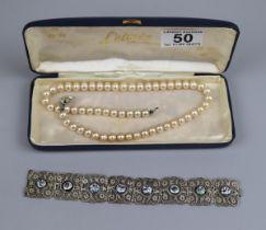 Cased L'etoule pearls together with enamel set bracelet