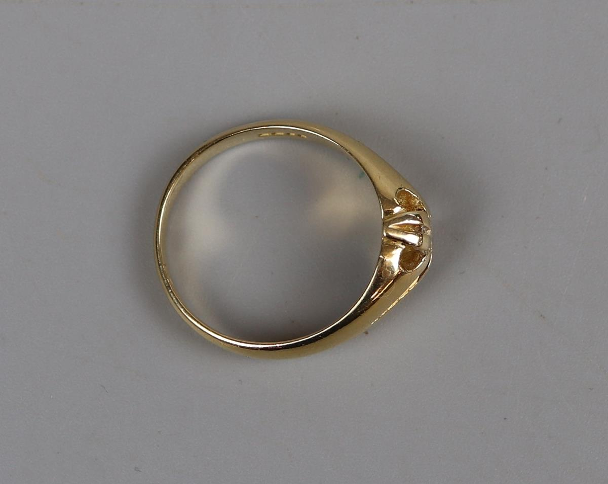 18ct gold gents diamond ring - Size R¾ - Image 3 of 3