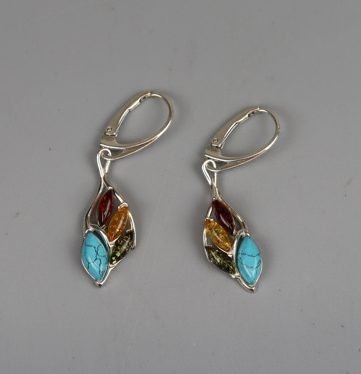 Pair of silver, turquois & amber earrings