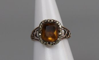Antique foil back topaz ring - Size M½