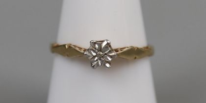 Gold stone set ring - Size R