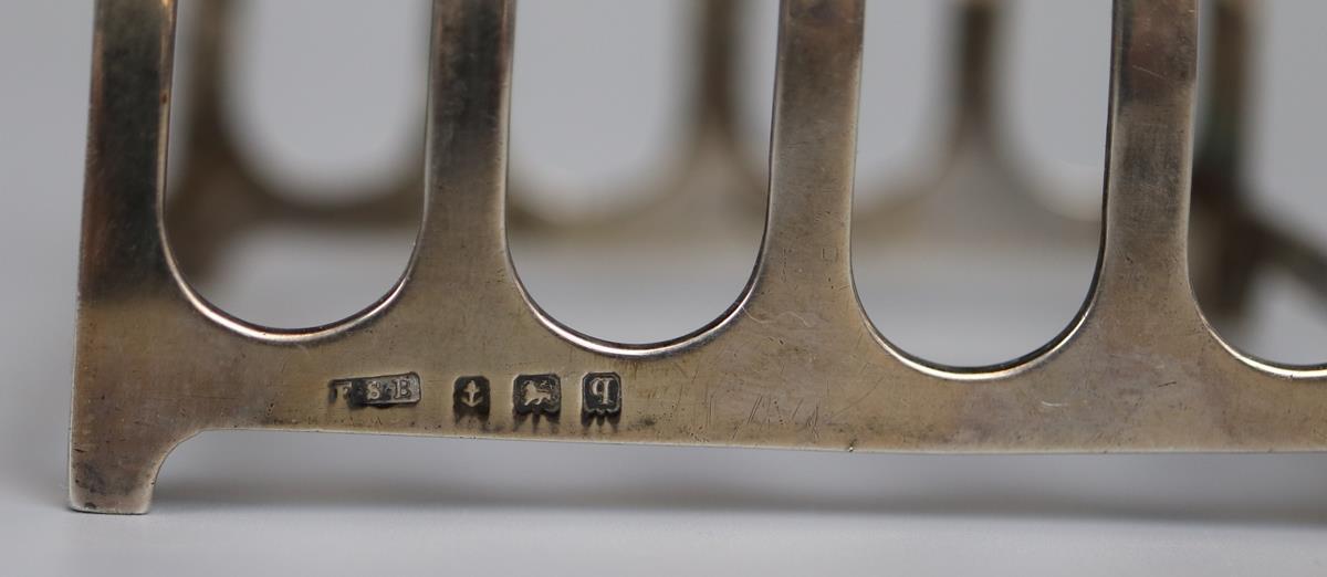Pair of hallmarked silver toast racks - E.S. Barnsley & Co - Birmingham 1915 - Approx 118g - Image 3 of 3