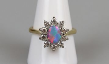 18ct gold opal & diamond cluster ring, size S