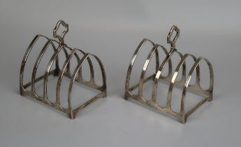 Pair of hallmarked silver toast racks - E.S. Barnsley & Co - Birmingham 1915 - Approx 118g