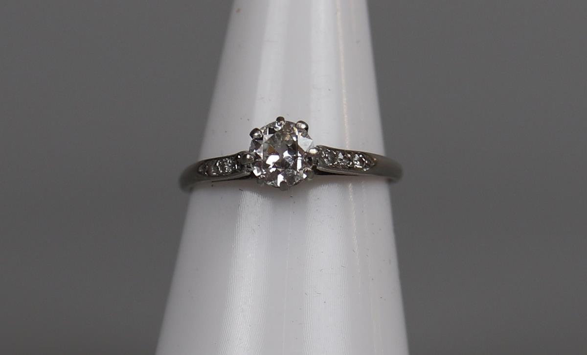 Platinum diamond solitaire ring - Approx ¾ct diamond - Size L