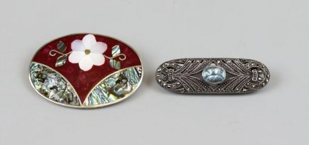 Silver & marcasite stone set brooch together with mother of pearl & enamel brooch marked Alpaca