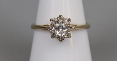 Gold stone set cluster ring - Size P¾