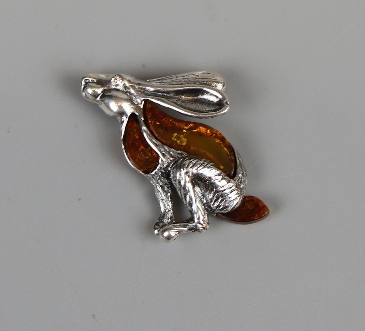 Silver & amber hare pendant