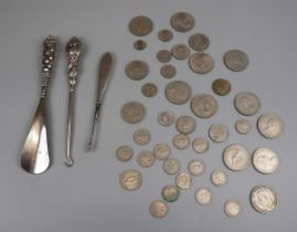 Collection of coins & silver handled shoe horn & button hooks