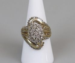 18ct gold & diamond cocktail ring A/F (size P)