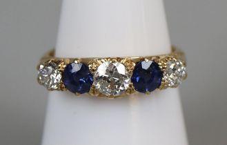 Fine 18ct gold sapphire & diamond 5 stone ring (size M½)