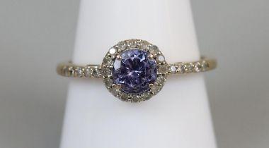 Gold diamond & tanzanite ring (size R½)