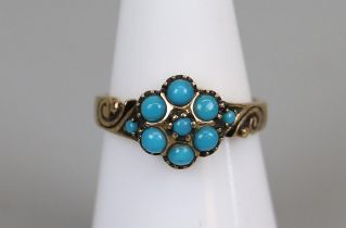 Gold turquoise set ring (size L)