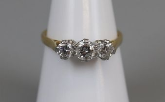 18ct gold 3 stone diamond ring (size M½)