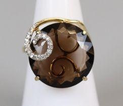 Gold topaz & diamond set ring (size L)