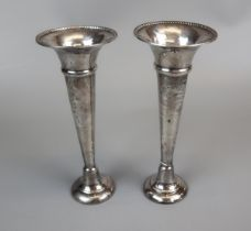 Pair of hallmarked silver posey vases