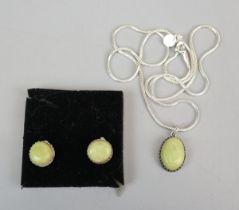 Silver & Brazilian emerald necklace & earing set