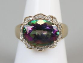 Gold mystic topaz & diamond set ring (size N½)
