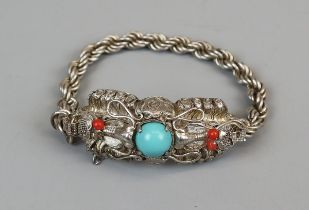 Silver turquoise & coral bracelet
