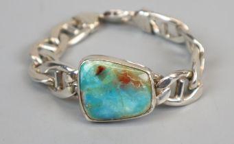 Heavy silver bracelet with Australian opal inset