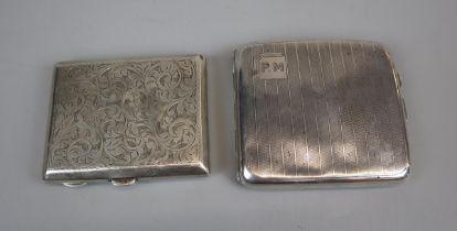 2 hallmarked silver cigarette cases - Circa 1930's to include W T Wiseman & Frederick Field - Approx