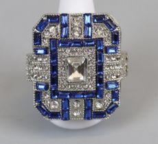 Large Art Deco stone set costume ring