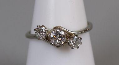 Fine platinum 3 stone diamond ring (size N½)