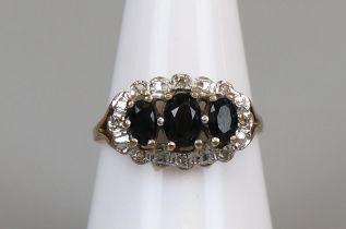 Gold sapphire & diamond set ring (size N½)