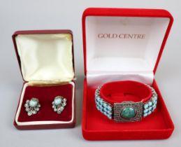 Ladies silver & turquoise bracelet & pair of turquois earrings