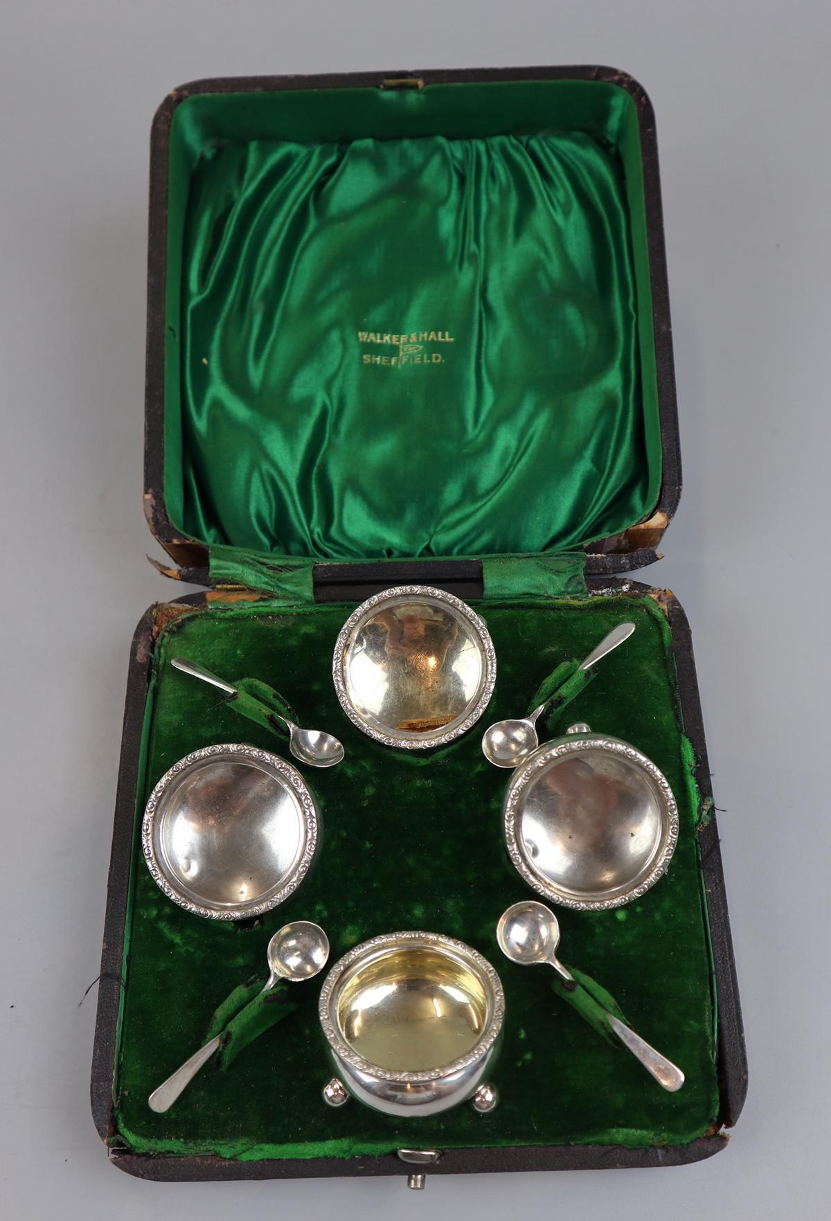 Hallmarked silver boxed condiment set
