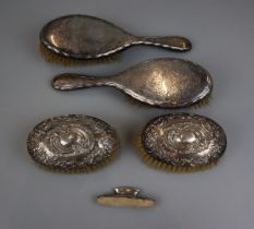 Collection of hallmarked silver brushes etc