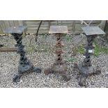 3 cast iron Coalbrookdale style table bases