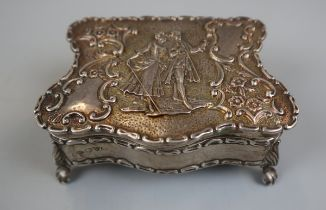 Small hallmarked chased silver trinket box (missing base)