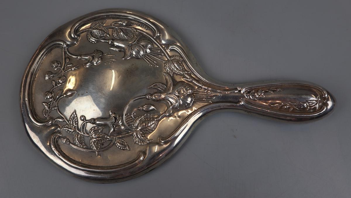 Hallmarked silver Art Nouveau vanity mirror
