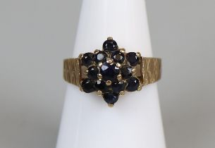 Gold sapphire set ring (size N½)