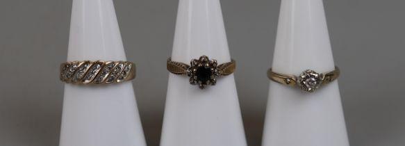 3 gold diamond set rings