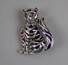 Silver enamel cat brooch