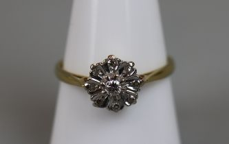 18ct gold diamond cluster ring (size R½)