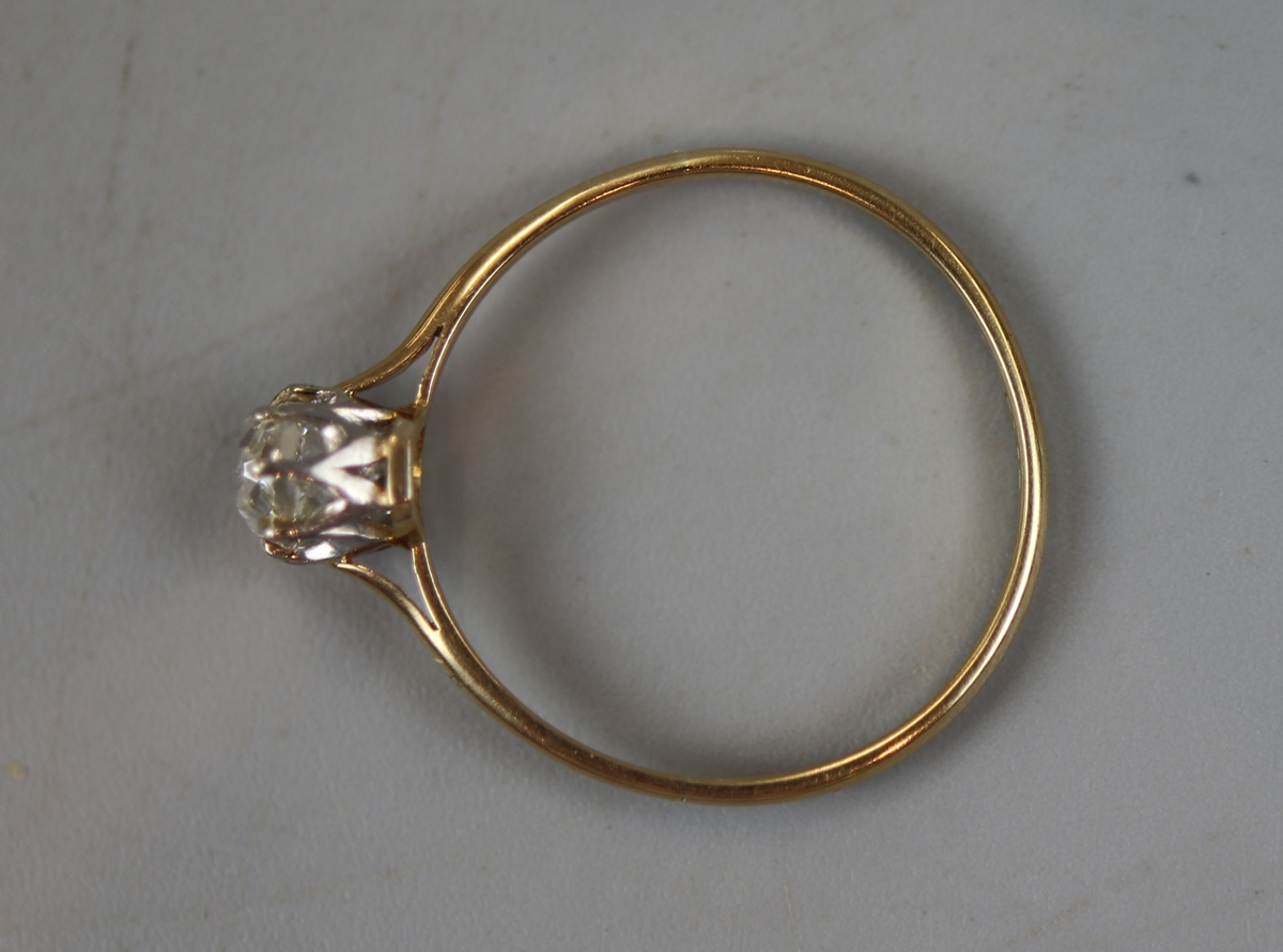 18ct gold diamond solitaire ring (size P) - Image 2 of 2