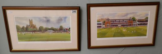 Pair of L/E signed cricket prints - Laws & Worcester by Terry Harrison