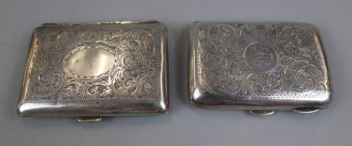 2 hallmarked silver cigarette cases - William Neal & Sons Ltd circa 1918 & G&C Ltd