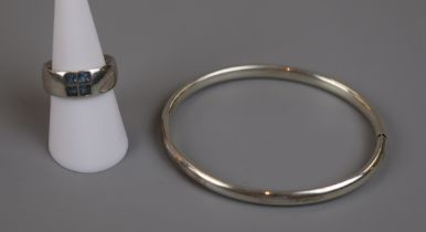 Silver bangle together with silver & blue topaz ring
