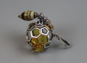 Silver & amber inset pendant